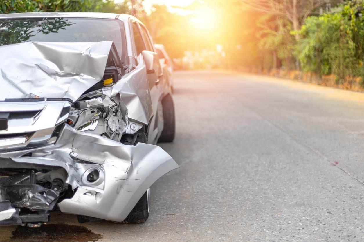damaged gray car